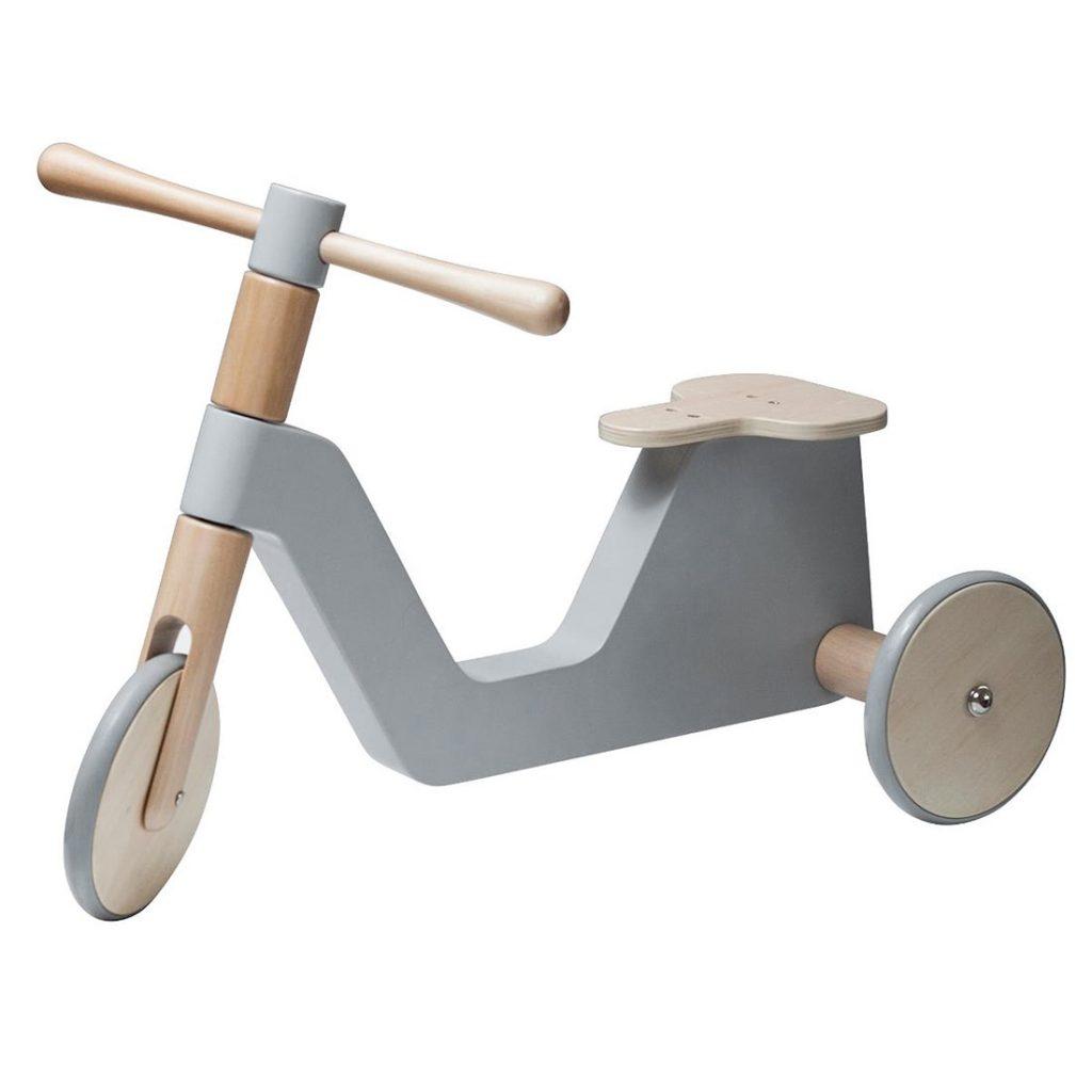 Sebra scooter grå trehjuling trä